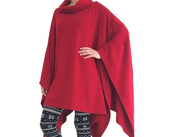 CHILLY poncho crimson sweater outerwear turtleneck pullover top blouse plus size maternity winter fall fashion cape