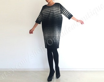 JACKIE loose wool houndstooth cocoon women shift dress knee-length midi tunic cocktail work black and white winter leather plus size