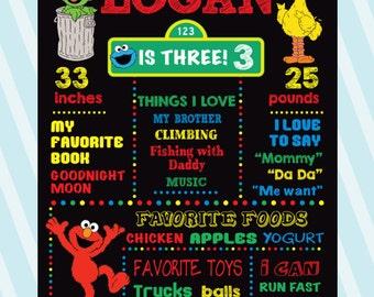 Sesame Street Chalkboard Poster, Sesame Street First Birthday Sign, Sesame Street Poster,  Elmo Chalkboard Poster, Elmo DIGITAL file