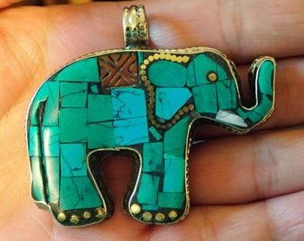 Inlay Turquoise Elephant  two sided
