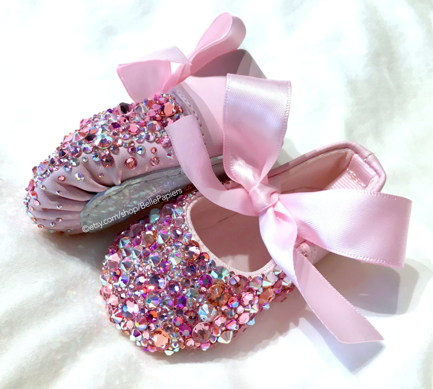 100% Swarovski Slippers Infant Baby Ballerina Ballet Shoes