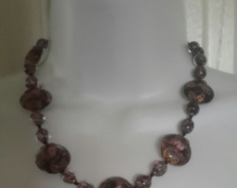 Vintage 40s Venitian Aventurine Sommerso Fiorato Beaded Necklace Amethyst 18""