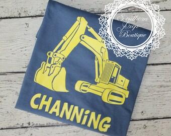 Construction Themed Birthday shirt - Monogram T shirt - Boy's construction birthday party - Monogram t shirt - Birthday shirt - Custom Tee
