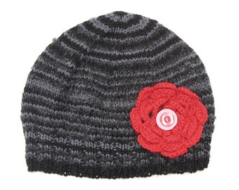 Older Girls / Adult . Grey Wool Beanie with Big Red Flower Stripe Knitted Winter Warm Hat - Gift Idea . Size - Age: 11 12 13 Teen - Adult