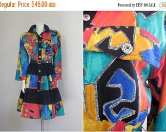 Cowgirl Dress / 80s Dress / Womens / Western / Southwestern / Square Dance Dress / Colorful / Full Skirt / Jewel Tone / Tiered / Print