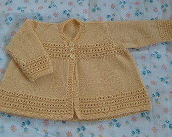 Knit Baby Girl Boy Sweater Cardigan Wool 12M Vintage Style Yellow