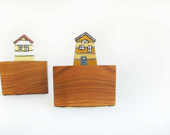 Little House Wall Decor Miniature House Sculptural Wall Art Wooden Tiny House