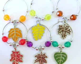 Fall Wine Glass Charms Set of 6 with small bag