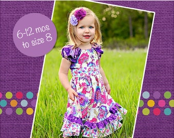 Demi's Ruffled Peasant Dress PDF Pattern Sizes 6/12 months to 8 girls