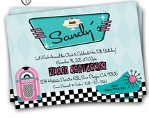 50's Party Invitation Sock Hop Rock 'n Roll 50's Birthday Party 5x7 Printable Fifties Diner Invitation Grease Party Gidget Elvis Presley