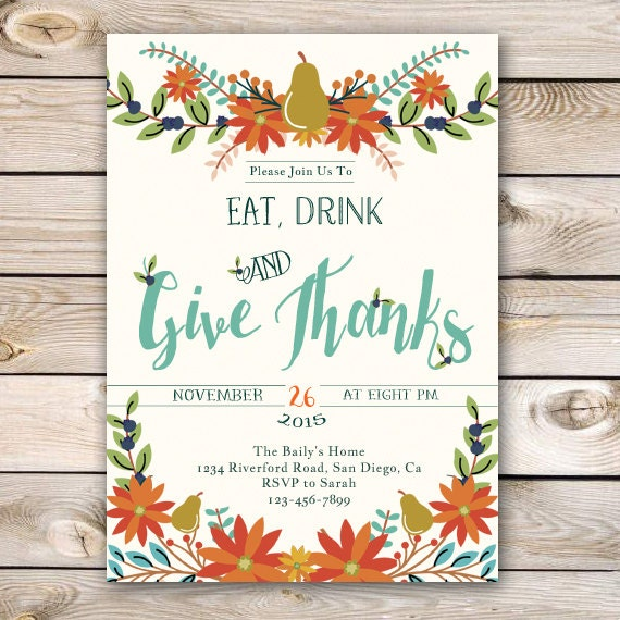 Bewitching image within printable thanksgiving invitations
