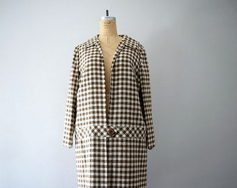 50% SALE . 1960s plaid jacket . vintage 60s coat . brown jacket