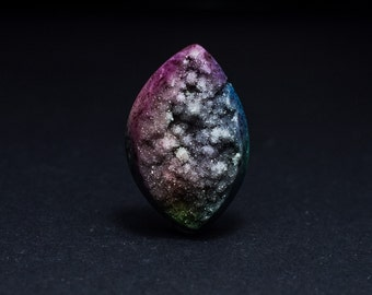 Colourful of Druzy Agate Stone Cabachon 21 x 34 mm