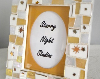 Mosaic Frame - IRIDESCENT Gold and White -  Stained Glass and China Tiles