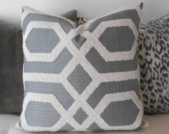 Green gray embroidered tufted trellis decorative pillow cover
