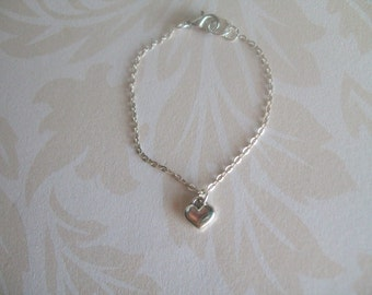 Infant Toddler Anklet, Puff Heart on Sterling Silver Chain, Keepsake, Baby Jewelry, Infant Jewelry, Dainty Delicate,