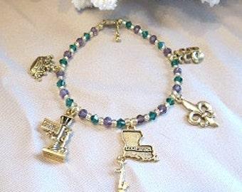 Gold Charm Bracelet - Mardi Gras Bracelet - New Orleans Jewelry - Mardi Gras Jewelry - New Orleans Bracelet - Crystal Bracelet - Womens Gift