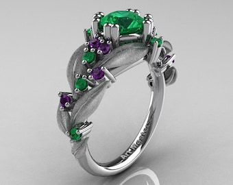 Nature Classic 14K White Gold 1.0 Ct Emerald Amethyst Leaf and Vine Engagement Ring R340S-14KWGAMEM