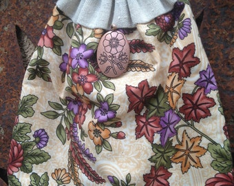 Flowered Drawstring Bag Purse with Copper Pendant