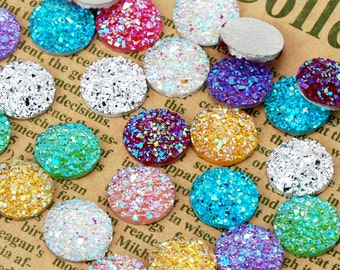 100 Round druzy cabochons glitter resin cabochon 12mm faux druzy resin cabochons 100625