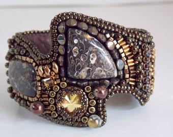Free Shipping, Bead Embroidery,  Bracelet, Statement cuff,  Seed bead bracelet, Swarovski, Turritella Agate, Bronze, Gemstone jewelry