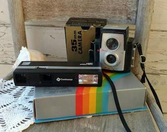 Retro Cameras in Original Boxes - 2 Vintage Pocket Cameras, Photography Supply, Continental Teleflash 350 T, Sitacon 35 mm, Hipster Cameras