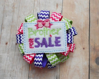 Brother for Sale Chevron Loopy Flower Hair bow