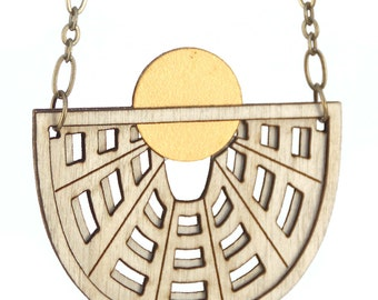 ATON | half moon necklace, laser cut wood and brass necklace