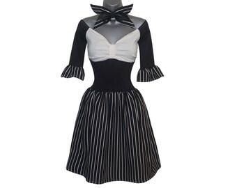 Halloween Jack - Gothic Dress - Black Pinstripe Dress - Halloween Costume - Skellington King