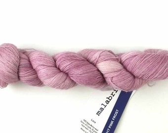 Malabrigo Merino Wool Lace Yarn, Pink Frost, delicate pink, color 17, lace weight