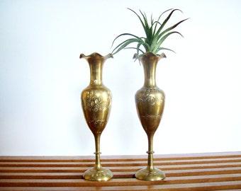 Pair of Vintage Brass Footed Vases, Ruffled Rims, Hollywood Regency, Boho Chic, Bud Vase Pair, Etched Brass Vases