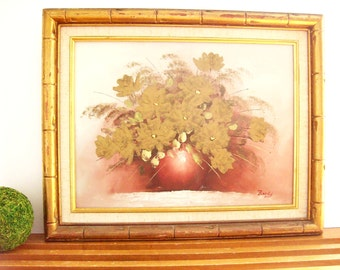 Vintage Original Floral Painting with Gilded Bamboo Frame, Hollywood Regency Art