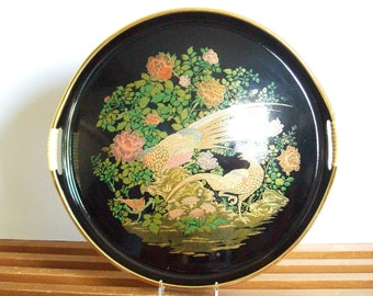 Chinoiserie Tray, Vintage Lacquerware, Peacock or Pheasant Tray, Gold and Black, Hollywood Regency Serving Cocktail Tray, Vanity Tray, Asian