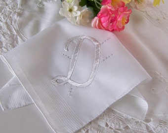 Bridal Handkerchief Monogrammed D Bride's Vintage Wedding Hanky in White Wedding Keepsake Something Old Bridal Shower Gift
