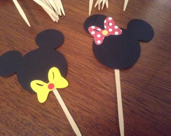 Mickey and Mini CupCake Toppers, Kids Party Decor