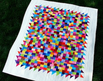 "Abstract Wall Quilt, Modern Quilt, Art Quilt, Home Decor, Baby Quilt, Multi Colors, Improv, 40"" x 44"""
