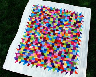 "Wall Quilt, Quilt On Sale, Modern Quilt, Art Quilt, Home Decor, Baby Quilt, Multi Colors, Improv, 40"" x 44"""