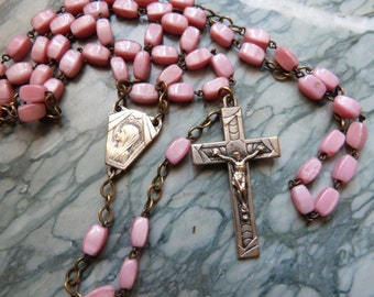 Antique French religious pink stone beaded catholic rosary necklace w artdeco cross crucifix corpus Jesus Christ w Holy Virgin Mary medal
