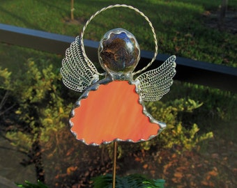 Stained Glass Angel Plant Stake - Red and Orange Swirled Opal Glass Angel with Brass Wings -Memorial Marker