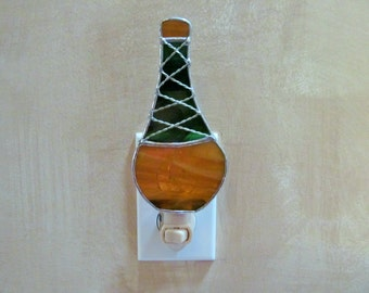 Chianti Wine Bottle Stained Glass Night Light - Unique - One of a Kind - Bar Decor