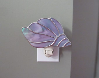 Conch Shell Night Light in a Gray and White Iridescent Glass- Handcrafted Authentic Stained Glass - Unique Gift Idea