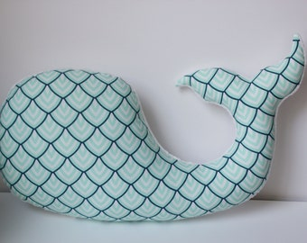 Modern baby nursery WHALE pillow, aqua navy white, plush stuffed shower gift present