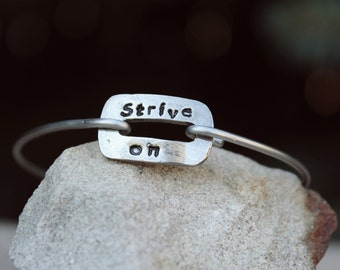 Strive on Mantra Bangle Bracelet Strive On Mantra Buckle Bangle Charm Bracelet, Stainless Steel Bangle Bracelet, Charm Bangle, White Copper