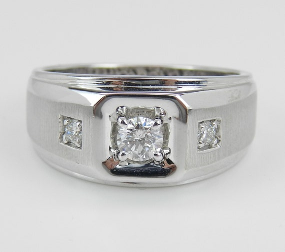Men's Solitaire Diamond Engagement Ring Pinky Ring Anniversary Band White Gold Size 10