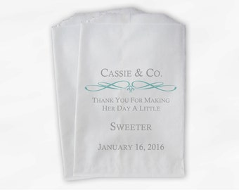 Custom Bridal Shower Candy Buffet Paper Treat Bags Personalized - Set of 25 Light Teal and Gray Favor Bags with Name and Wedding Date (0044)