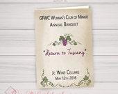 Custom Program PDF Version - You Provide Text I'll make Pretty - Tuscany, Italy, Winery, Wine Party, Grapevine, Italian, Event