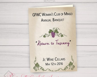 Custom Program PDF Version - You Provide Text I'll make Pretty - Tuscany, Italy, Winery, Wine Party, Grapevine, Italian, Event