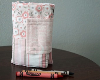Kids Crayon Wallet - Pink Flowers - Pink and Gray - Gift Under 20 - With Crayons and Paper - Back to School - Travel Gift