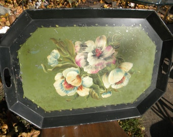 huge heavy antique vintage hand painted floral 1940s TOLEWARE TOLE SERVING tray