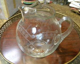 great shape clean vintage antique mid century FLORAL ENGRAVED WHEEL cut tilt glass ball pitcher jug